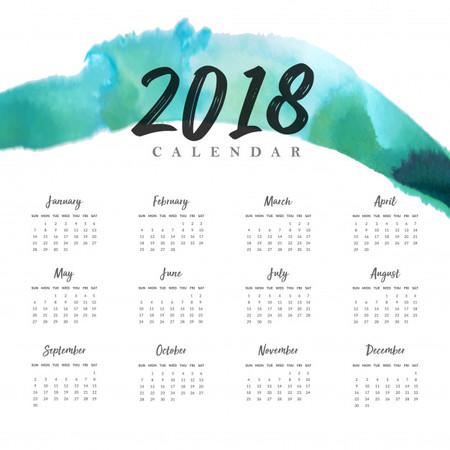 Acuarela 2018 Ano Nuevo Calendario Anual 1340 3561
