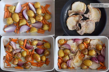 Chuletas de lomo al horno con patatas, zanahorias baby y queso feta