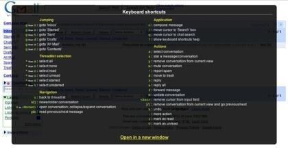 Gmail 2.0 incluye una guía de atajos de teclado mediante pop-up