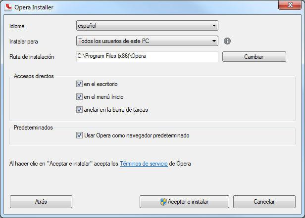 Opciones por defecto de Opera 16 estable