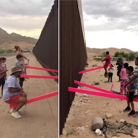 Colocan tres balancines en la frontera entre México y Estados Unidos, para que los niños puedan jugar juntos
