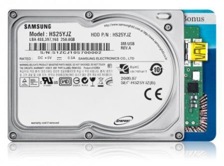 Samsung N3U, 250 GB en 1.8 pulgadas