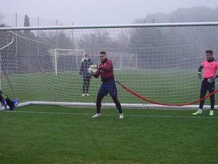 Andrés en un entrenamiento de la SD Huesca.