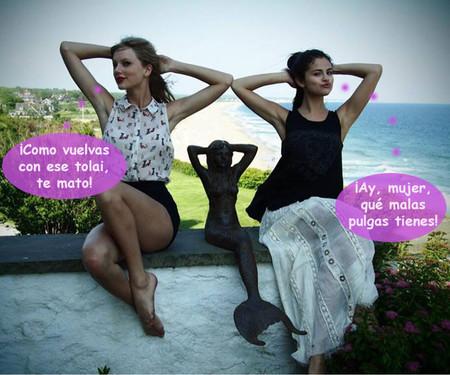 Taylor Swift y Justin Bieber a manopla limpia, mientras la pobre Selena mira