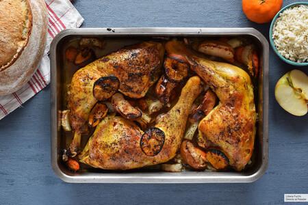 pollo al horno con verduras, manzana y salsa de mandarina