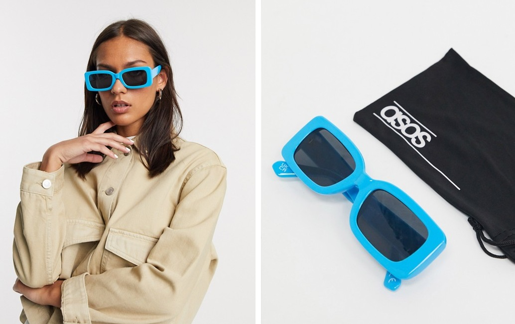 Gafas de sol rectangulares con diseño en azul intenso