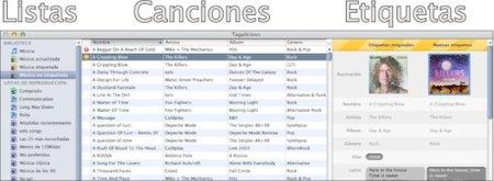 Listas canciones y etiquetas
