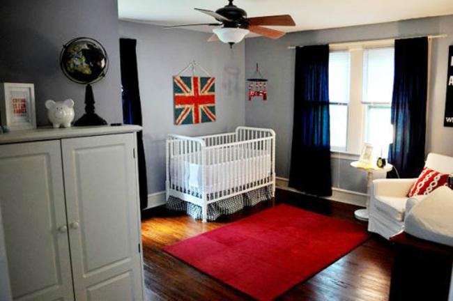 Dormitorio infantil con aire británico