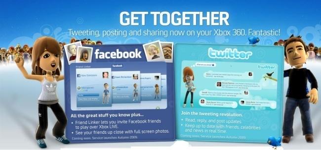 Twitter y Facebook fuera de la Xbox 360