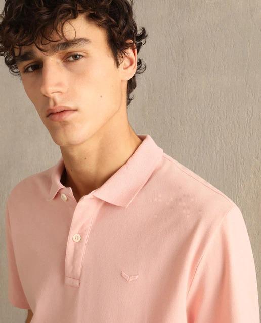 Polo de hombre rosa de manga corta