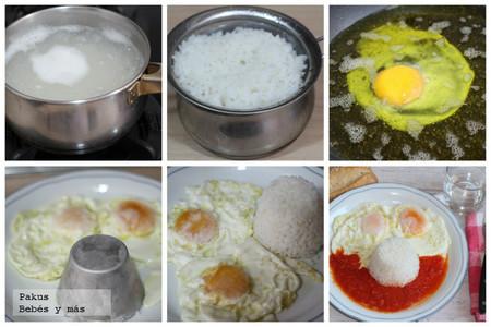 arroz tomate y huevos paso a paso