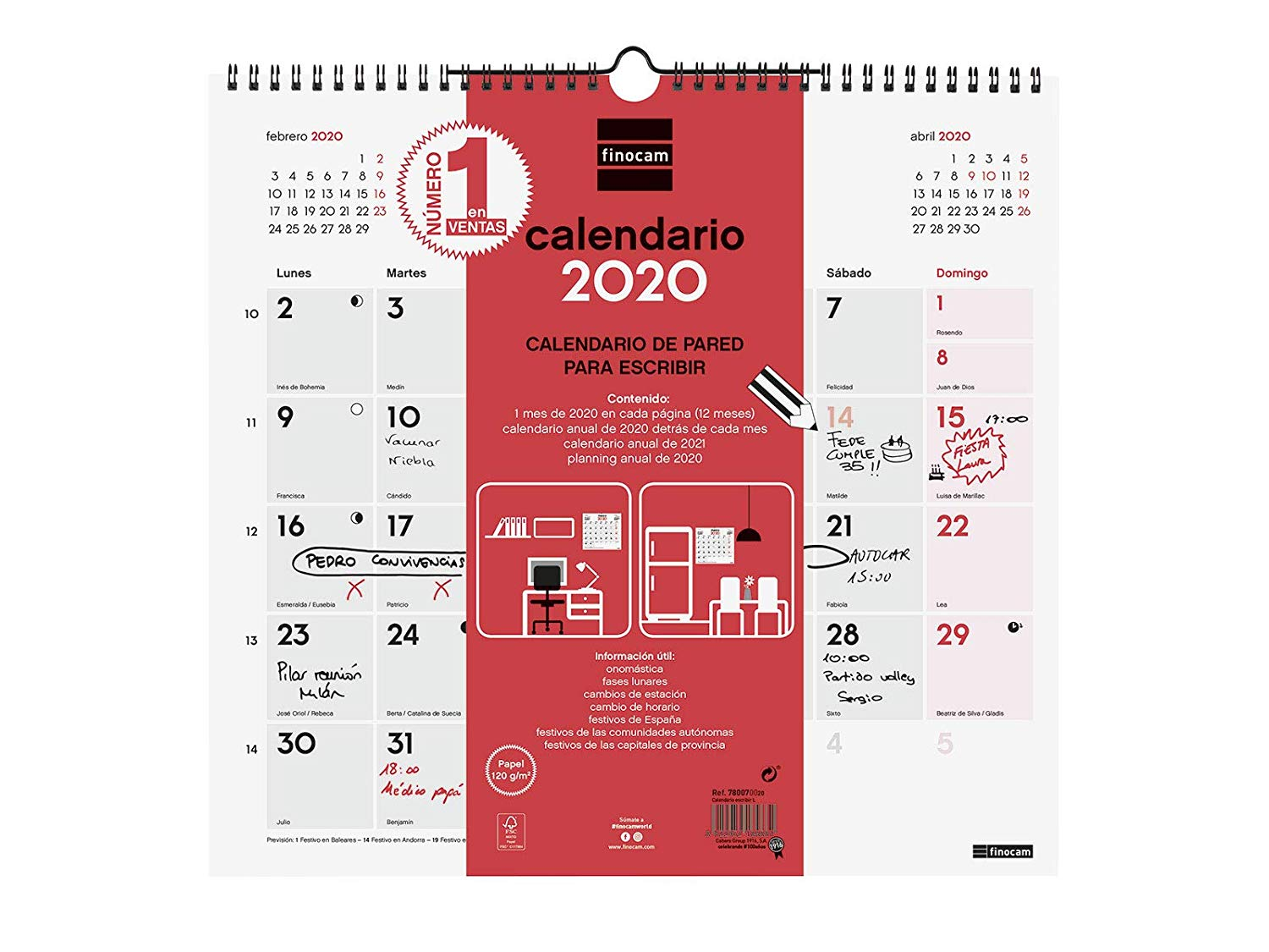Finocam Escribir, Calendario de Pared 2020, L - 340 x 320 mm