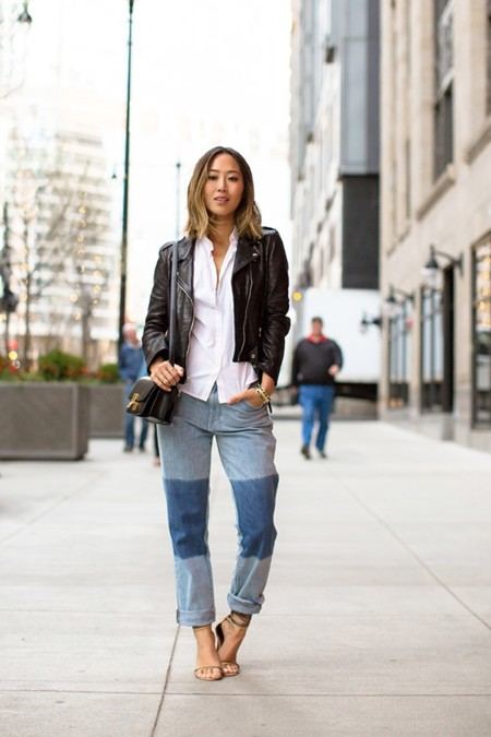 Aimee Song Short Hair Leather Jacket Boyfriend Jeans With Patchwork