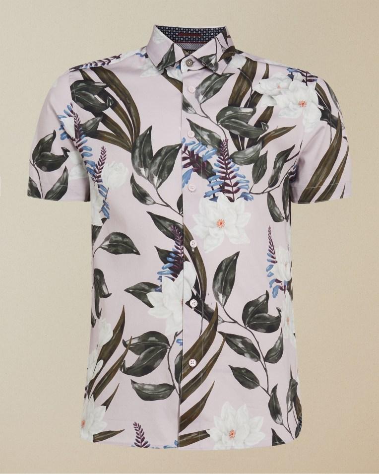 Camisa manga corta modelo Dudum con print en acuarela