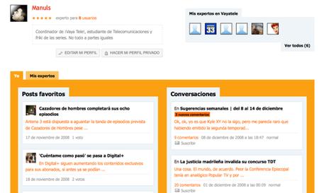 Nuevas páginas de usuario en ¡Vaya Tele!