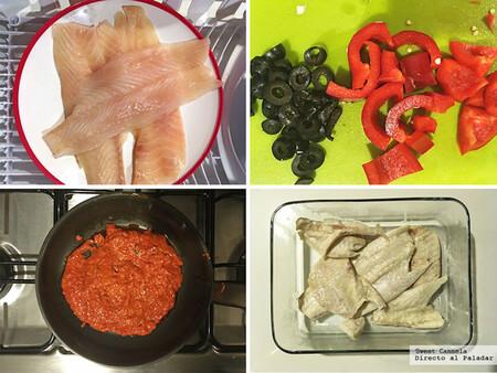 Róbalo en salsa de jitomate y pimiento. Receta de Cuaresma