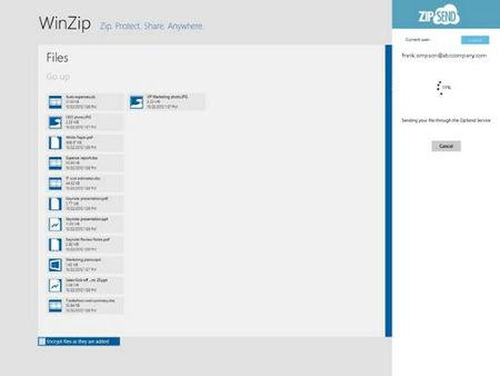 WinZip para Windows 8, utilidad ZipSend