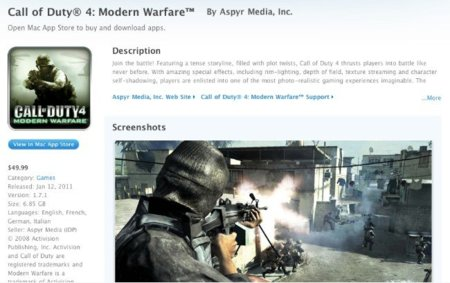 apple mac app store call of duty 4 modern warfare aspyr media juego