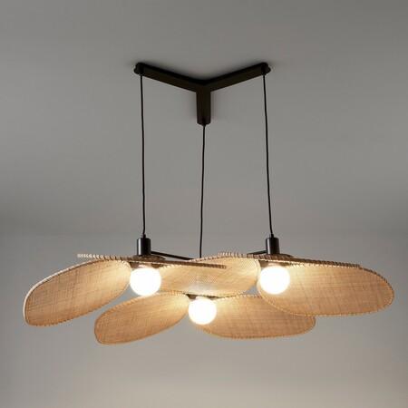 Lámpara de techo de ratán trenzado
