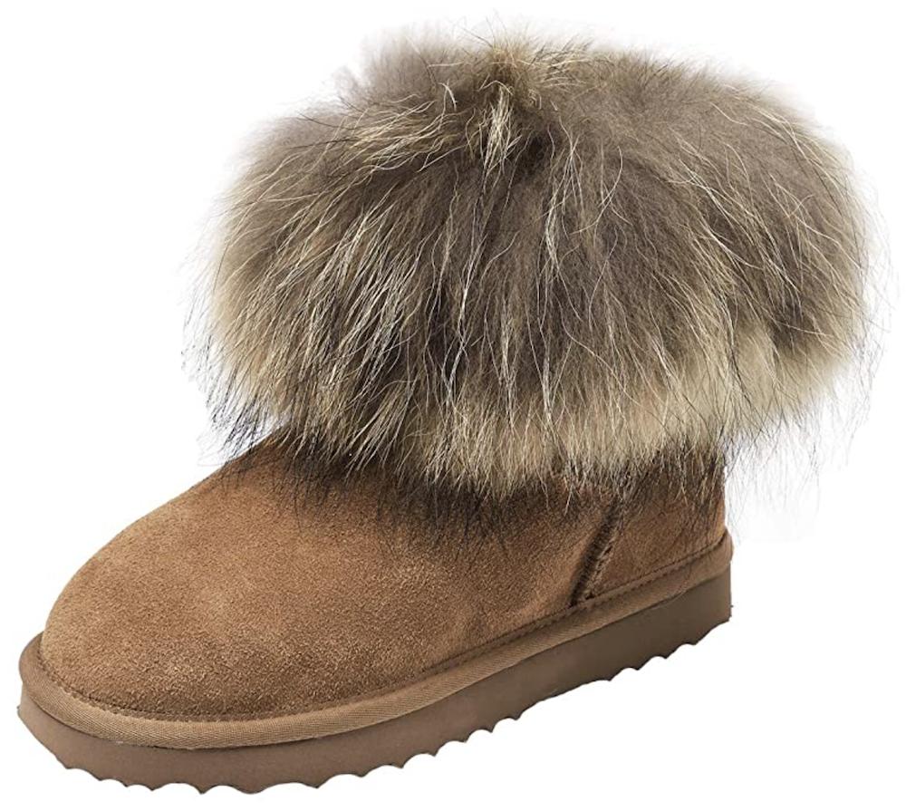 Shenduo Zapatos Invierno - Botas de Nieve Calientes de Piel con Pelo Forradas e para Mujer D9251