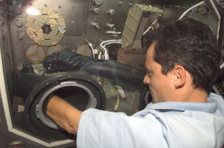 Iss 08 Pedro Duque Works At The Microgravity Science Glovebox