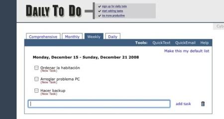 Daily To Do, sencillas listas de tareas online