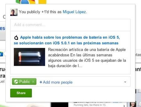 compartir google plus reader rss feed noticia