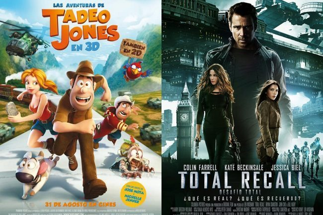 Los carteles de Las Aventuras de Tadeo Jones y Total Recall: Desafio Total
