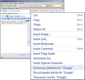 Diccionario, Thesaurus y enciclopedia en Google Docs