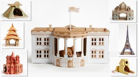 Casas de cartón inspiradas en monumentos históricos para que los gatos gobiernen el mundo