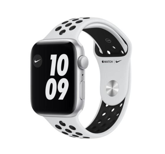 Apple Watch Nike SE GPS, 44 mm Caja de aluminio en plata - Correa Nike Sport platino puro / negro talla única