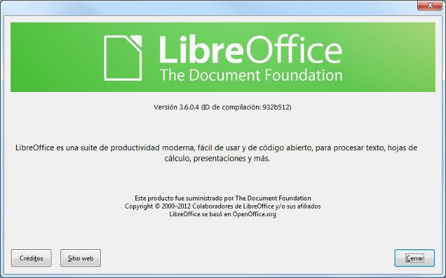 LibreOffice 3.6 Acerca de