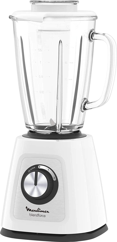 Moulinex Batidora de vaso Blendforce Cristal LM430110 - Batidora vaso de cristal 800 W, 4 cuchillas con función pica hielos, 3 velocidades, limpieza fácil y jarra de cristal termoresistente de 1.25 L
