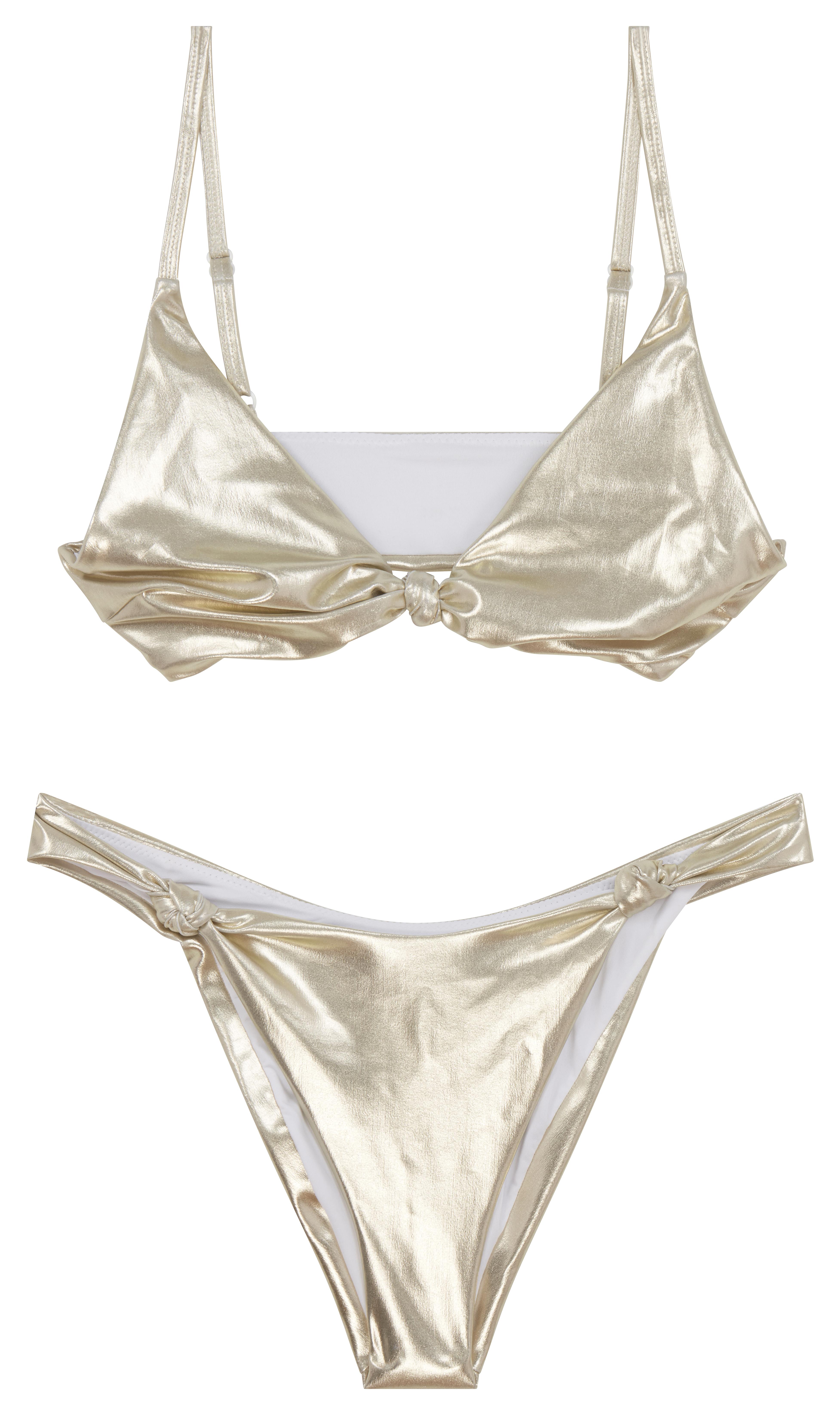 Bikini con detalle de nudo y diseño metalizado dorado