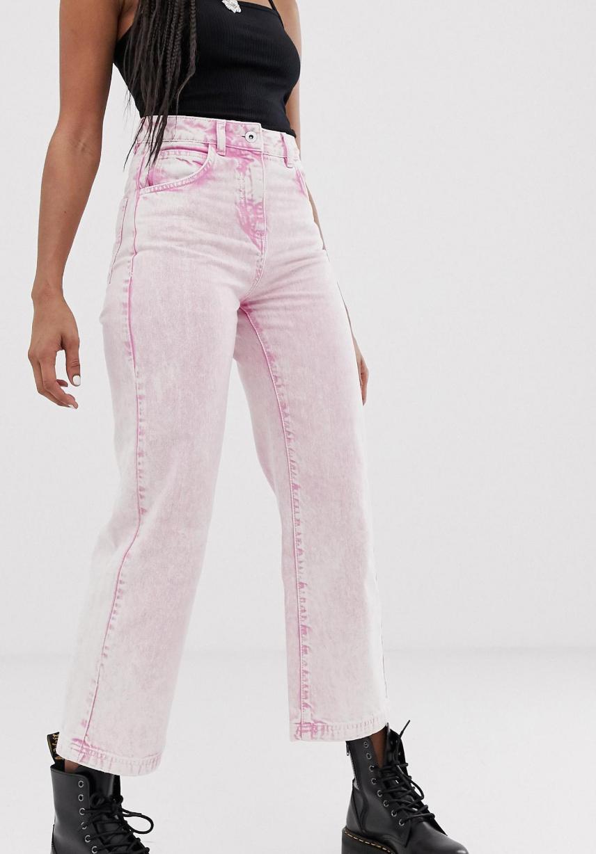 Vaqueros de pernera recta con lavado ácido en rosa x005 de COLLUSION