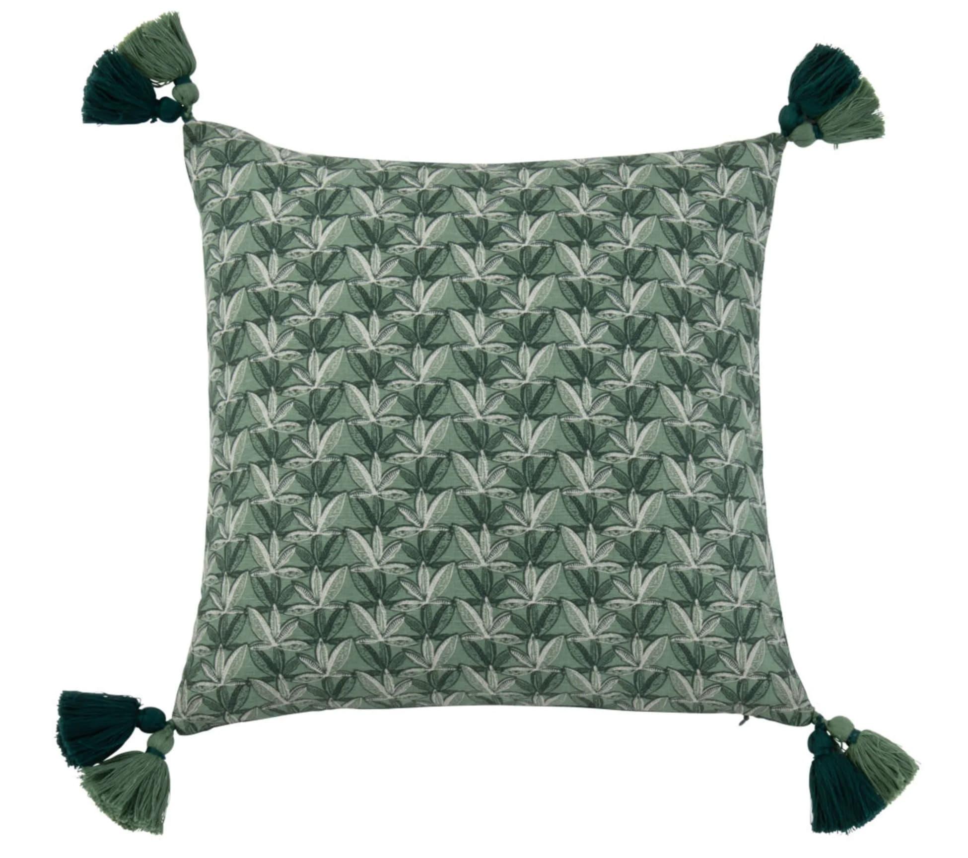 Funda de cojín de algodón ecológico con estampado verde y crudo 40 x 40