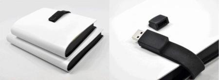 Tapa de cuero y correa con memoria USB para el cuaderno de notas