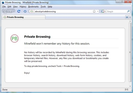 ¿Navegación privada en Firefox 3.1?