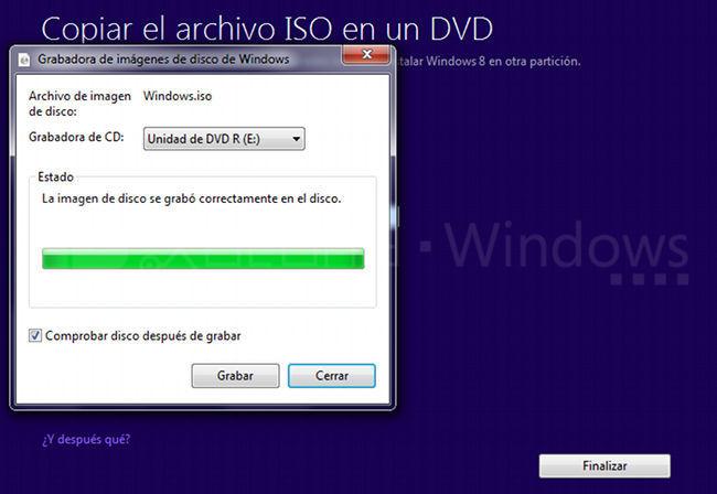 Actualización a Windows 8 Pro, imagen grabada en DVD
