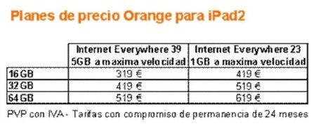 Precios iPad 2 con Orange