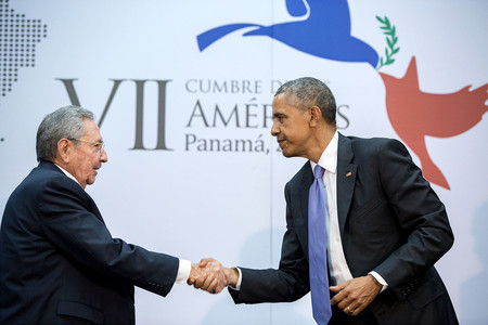 Handshake Between The President And Cuban President Raul Castro