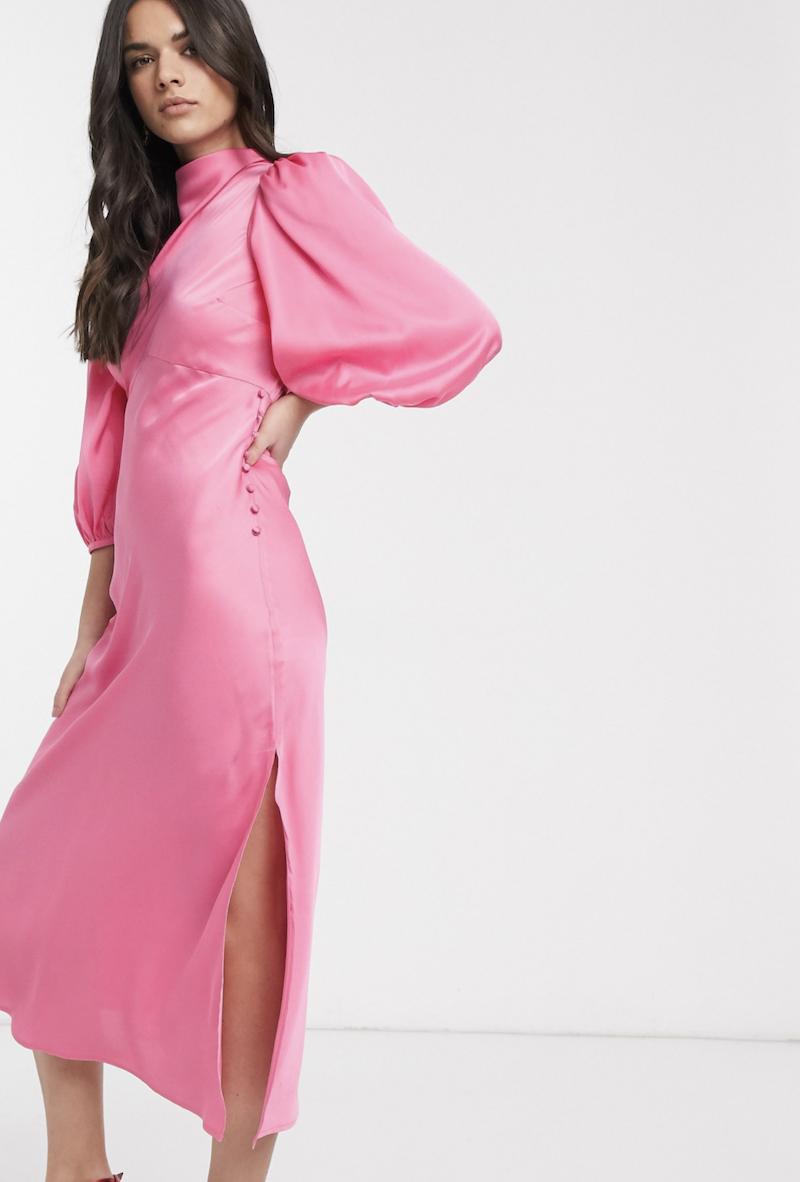 Vestido de tarde midi de satén con cuello desbocado y manga abullonada en rosa de ASOS DESIGN