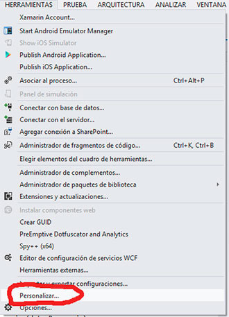 Visual Studio 2012, personalizar