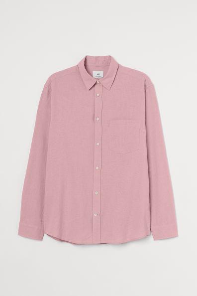 Camisa en lino color rosa