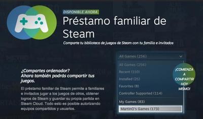 El nuevo préstamo familiar de Steam: comparte tus juegos en casa sin ningún sobrecoste