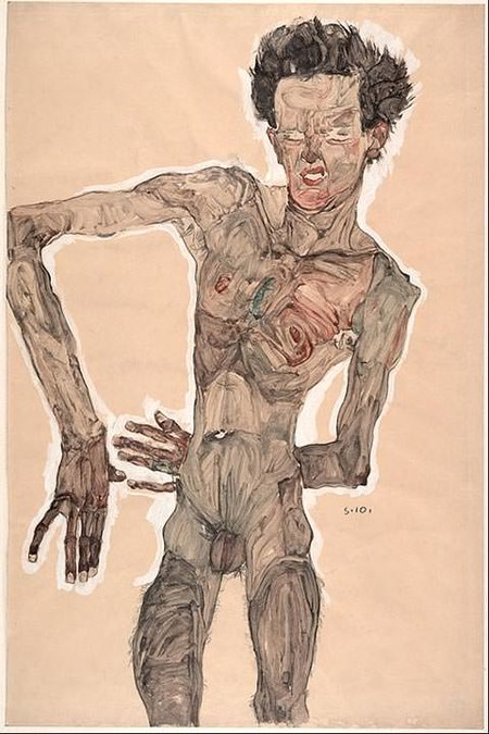 Self Portrait Grimacing By Egon Schiele