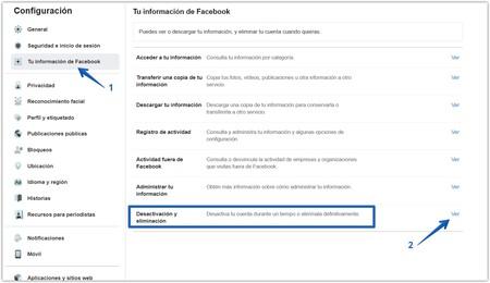 para llegar a la opción que nos permite desactivar nuestra cuenta de Facebook