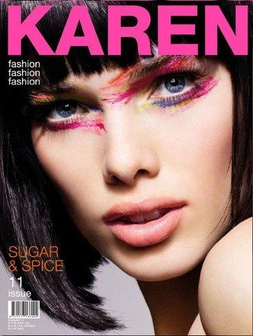 Antifaz de colores en la portada de Karen