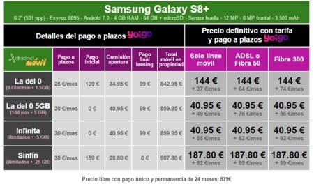 Precios Samsung Galaxy S8 Plus Con Pago A Plazos Yoigo