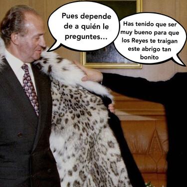 ¿Juan Carlos I de España o Cruella de Vil? El abrigo de pieles ilegal que recibió el Rey Emérito en Kazajistán